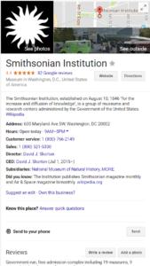 Smithsonian Institution listing